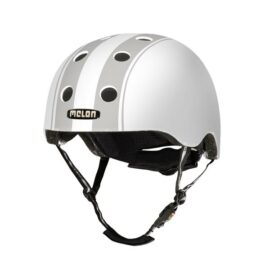 CASCO MELON DECENT DOBLE BLANCO FRANJAS GRISES MD-LG 52-58cms