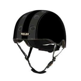 CASCO MELON DECENT DOBLE NEGRO FRANJAS GRISES MD-LG 52-58cms