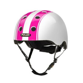 CASCO MELON DOBLE BLANCO FRANJAS ROSADAS MD-LG 52-58cms