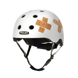 CASCO MELON BLANCO CON PARCHES MD-LG 52-58cms