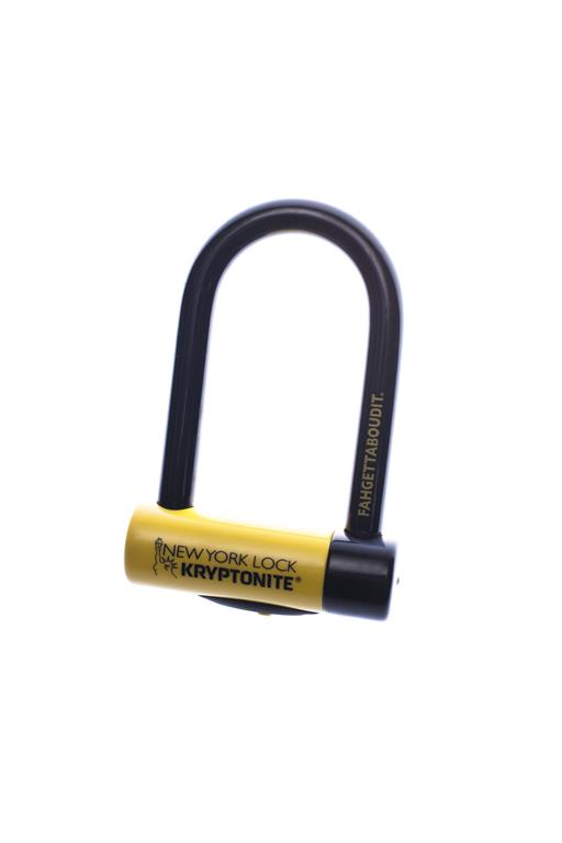 CANDADO U-LOCK KRYPTONITE NEW YORK FAHGETTABOUDIT MINI 18MM 3 LLAVES + LUZ 8,3 X 15,3CMS, NIVEL 10, AMARILLO