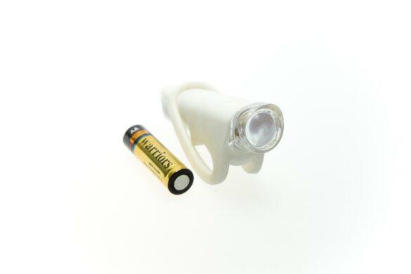 LUZ DELANTERA KROSS SILKY T/LINTERNA SILICONA 1 SUPER LED, BATERIAS AA, BLANCO