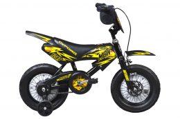BICICLETA INFANTIL ARO:12 OXFORD MOTO NEGRO/AMARILLO