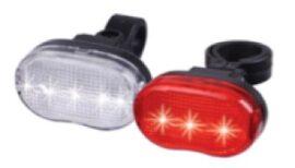 LUCES SET, LUZ DELANTERA 3 LEDS + LUZ TRASERA 004T 5 LED ROJO - BATERIAS AAA INCLUIDAS