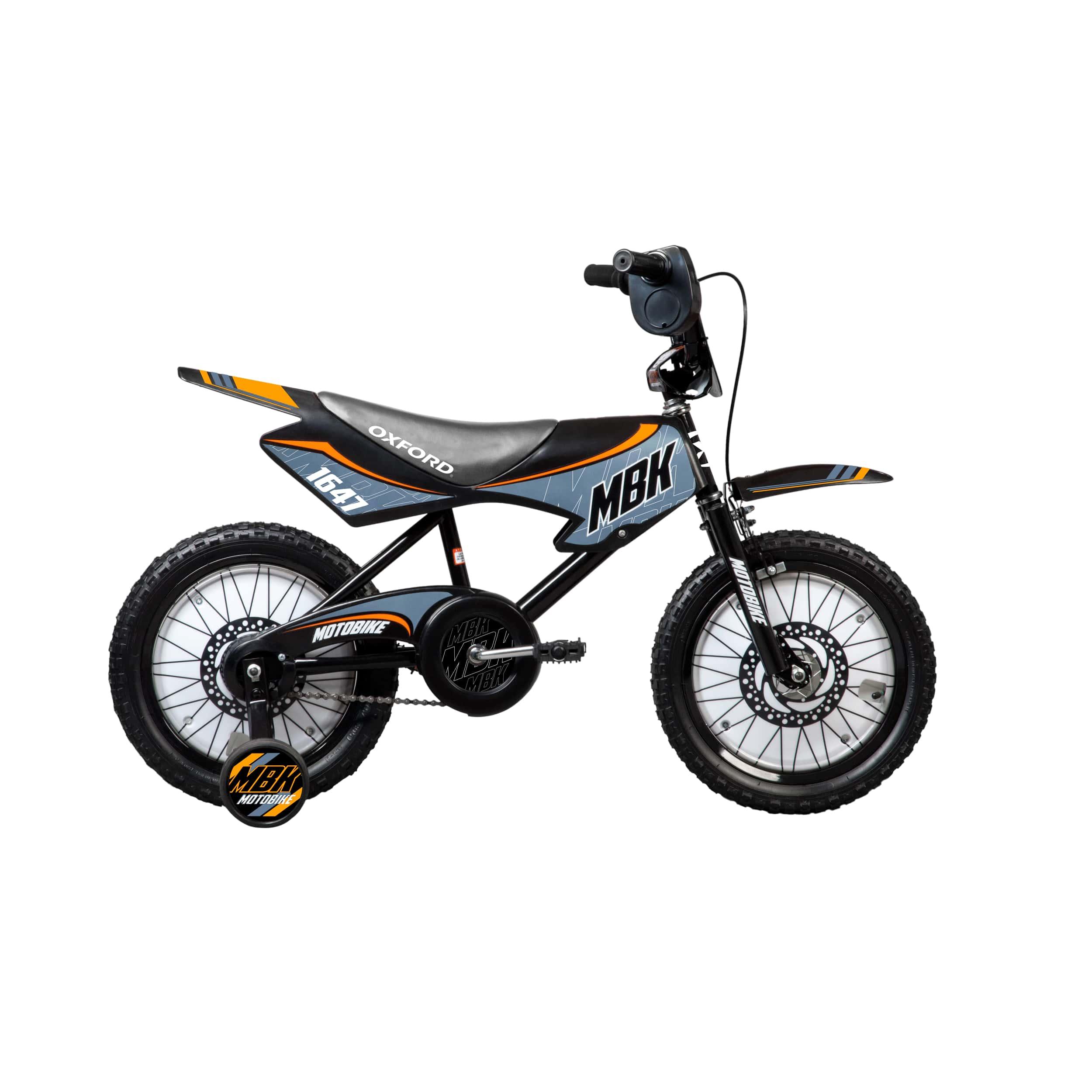 BICICLETA INFANTIL ARO:16 OXFORD MOTO NEGRO/CELESTE